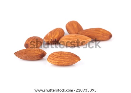 almond nut isolated on white background - stock photo