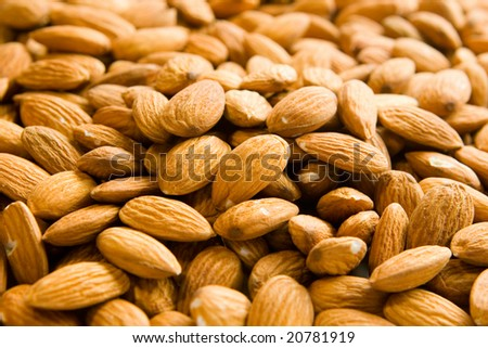 Almond nuts background - stock photo