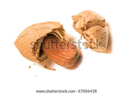 Almond Nuts isolated in white background - stock photo