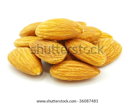 almond nuts isolated on a white background