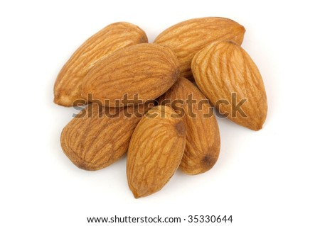 Almond nuts on a white