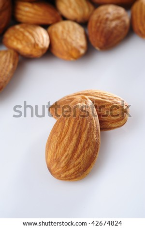Almond on a white background