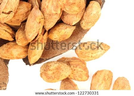 almond on white background - stock photo