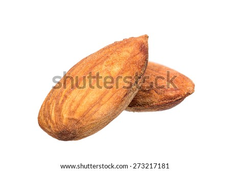 almond seed isolated on white - stock photo