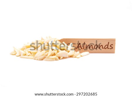 Almond slivers on plate - stock photo