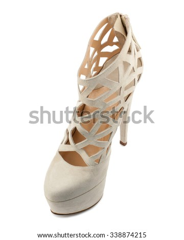 Almond suede shoe isolated on white background.Top view. - stock photo