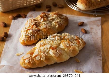 almond twist bread with sugar - stock photo