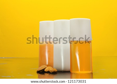 almond wellness accessories over yellow background