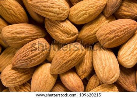 Almonds background - stock photo