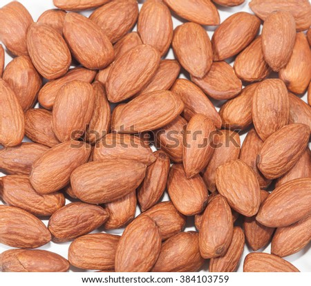 almonds background on white