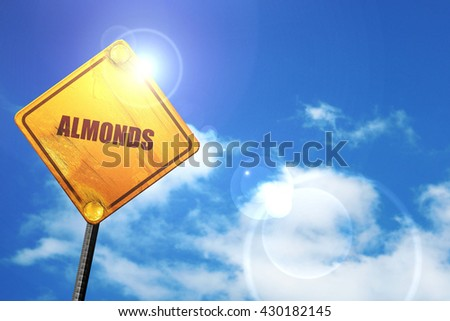 almonds, 3D rendering, glowing yellow traffic sign