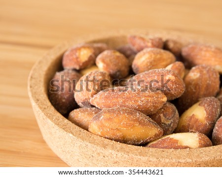 Almonds in close up shot - stock photo