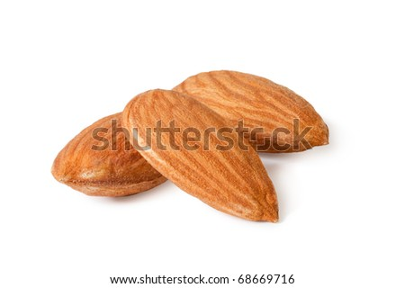 almonds isolated on the white background - stock photo