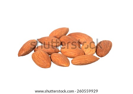 Almonds isolated on white background, Close up  - stock photo