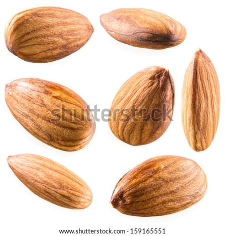 Almonds isolated on white background. Collection - stock photo