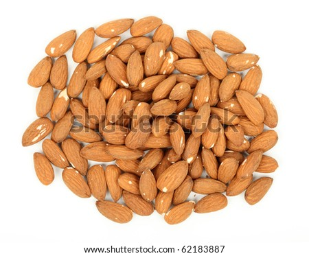 Almonds isolated over white background