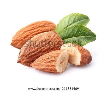 Almonds kernel with leaves - stock photo