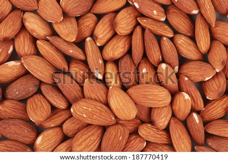 Almonds nuts close up. Macro. Whole background.