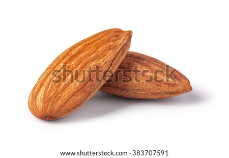 almonds nuts isolated on a white background - stock photo