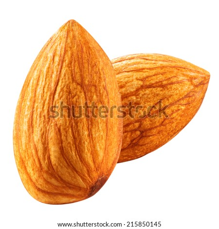 almonds nuts isolated on white background Clipping Path - stock photo