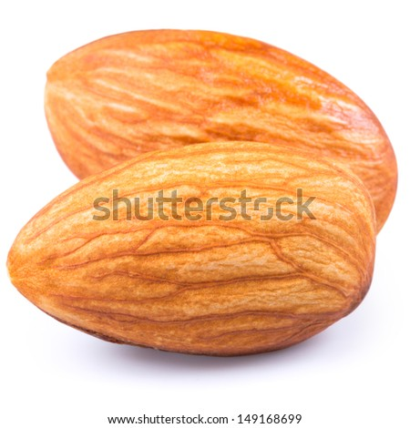 Almonds nuts nuts isolated on white background - stock photo