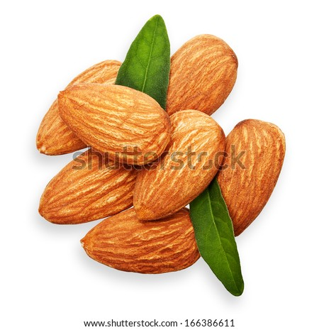 Almonds nuts with leaves isolated on white background. - stock photo
