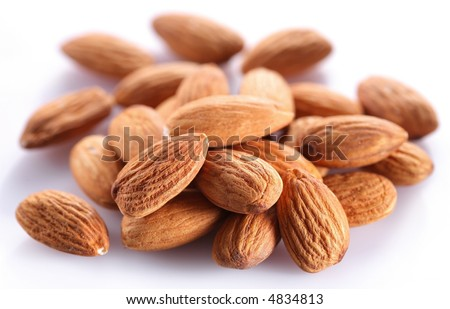 Almonds; Objects on white background - stock photo