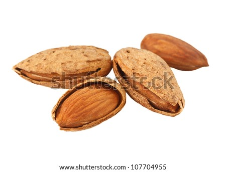 Almonds on a white background. - stock photo