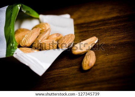 Almonds on  table - stock photo