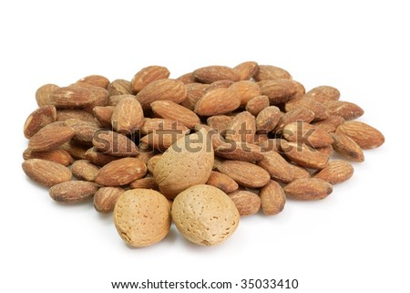 Almonds on the bright background.