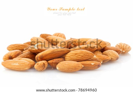 almonds on white background and space for your text - stock photo