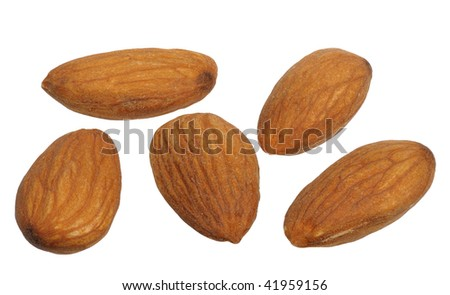 Almonds on white background, close up, isolated - stock photo