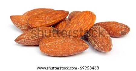 Almonds over white background - stock photo