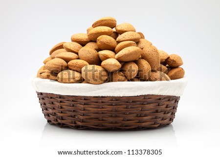 almonds to peel in a basket