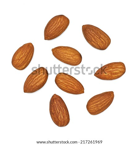 Almonds top view on white background - stock photo
