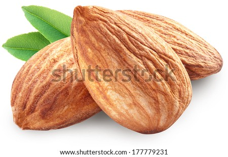 Almonds with leaves isolated on white background. Image with maximum sharpness. Clipping path. - stock photo