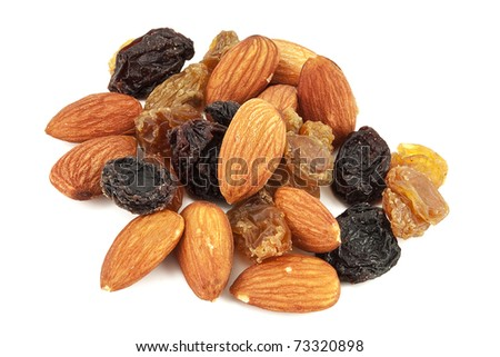 Almonds with raisin isolated a white background