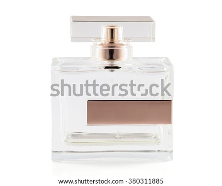 Almost empty bottle of perfume  isolated on white background with clipping path