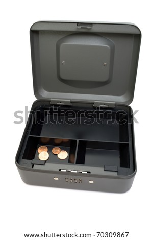 Almost empty cashbox. Last cents in the open cashbox. Isolated on white. - stock photo