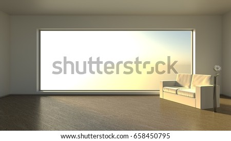 Almost empty room with panoramic window. Morning sun. 3D rendering