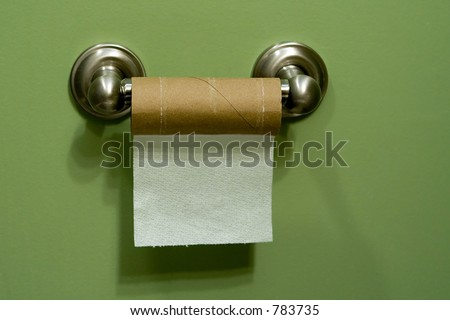 almost empty toilet paper roll - stock photo