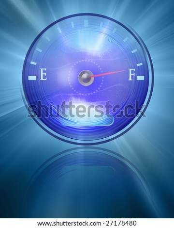 Almost full gas tank on a blue background - stock photo