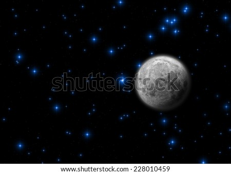 Almost full Moon on a starry skies.  - stock photo