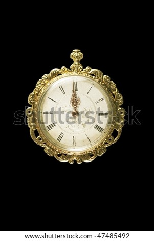 almost midnight: antique ladies watch isolation - stock photo