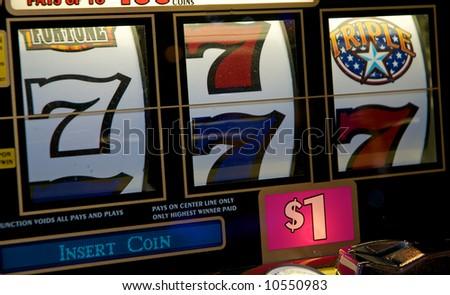 Almost winning on lucky 7 - stock photo