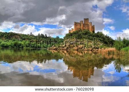 Almourol Castle (HDR photo) - stock photo