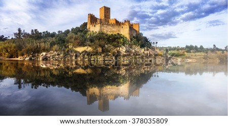 Almourol castle - reflection of history. Portugal - stock photo