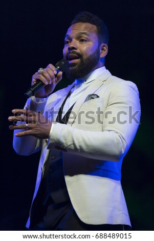 ALMUÑECAR, SPAIN - JULY 22 , 2017: Myles Sanko, at 30 International Jazz Festival of Almuñecar, Spain.