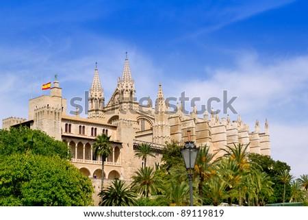 Almudaina and Cathedral of Palma de Mallorca in Majorca Balearic island - stock photo