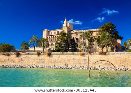 Almudaina Palace in Palma de Mallorca, Spain - stock photo